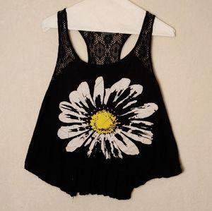 Julie's closet small flower black tank top lace